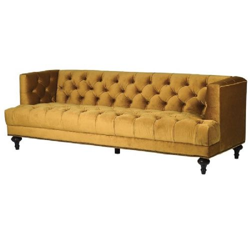 Mustard Velvet Button Back 3 Seater Sofa